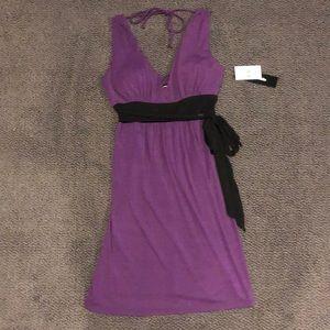 MyMichelle Purple V-Neck Front Tie Dress